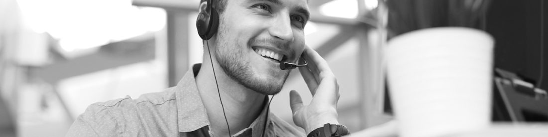 Man on a headset phone call