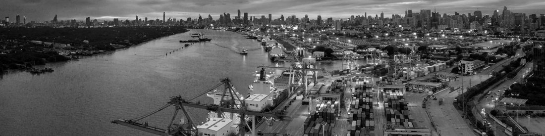 a overhead view of a shipping yard