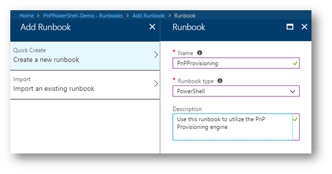 Screenshot: Azure Automation Account New Runbook