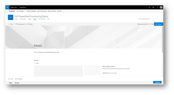 Screenshot: Azure Automation Account New Site Success