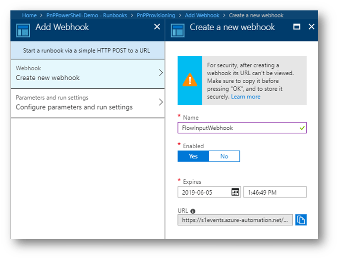 Screenshot: Azure Automation Account New Webhook