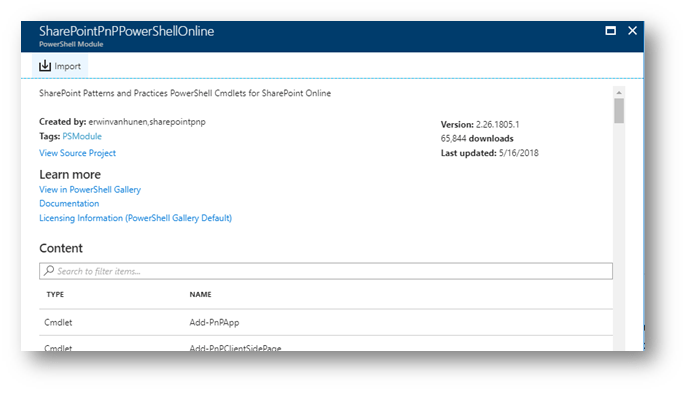 Screenshot: Azure Automation Import Account Modules