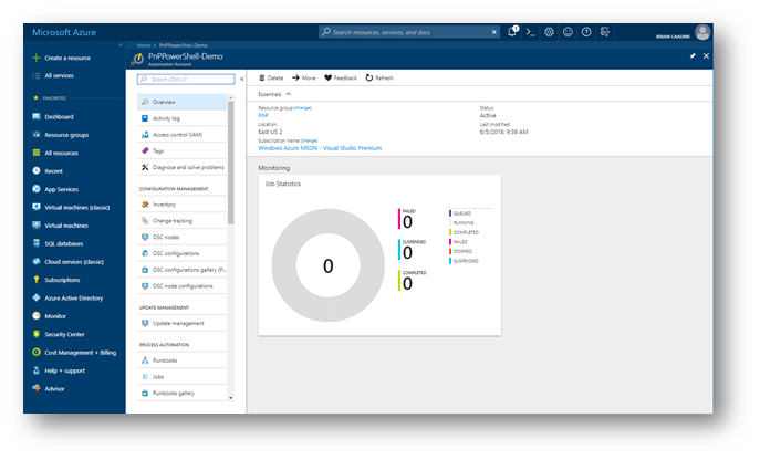 Screenshot: Azure Automation New Account