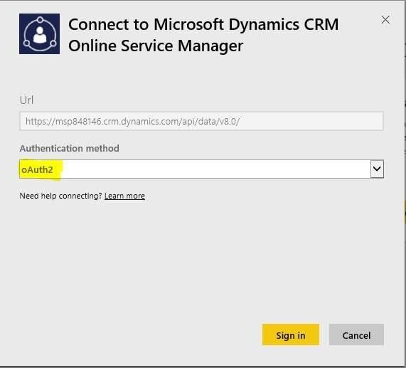 Screenshot: Dynamics CRM Authentication Method