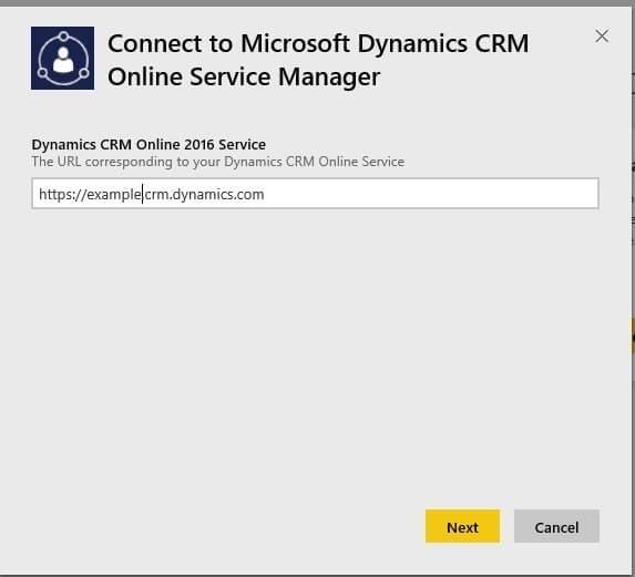 Screenshot: Dynamics CRM Online URL