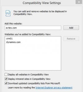 Screenshot: IE Compatibility View Settings 268x300