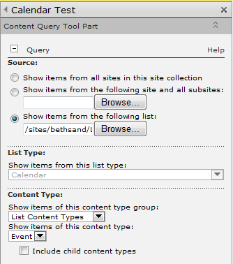 Screenshot: CQWP Tool Pane